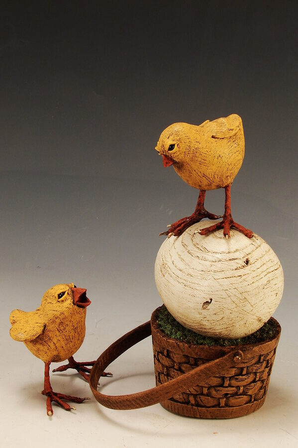 Chicks Guarding Egg
